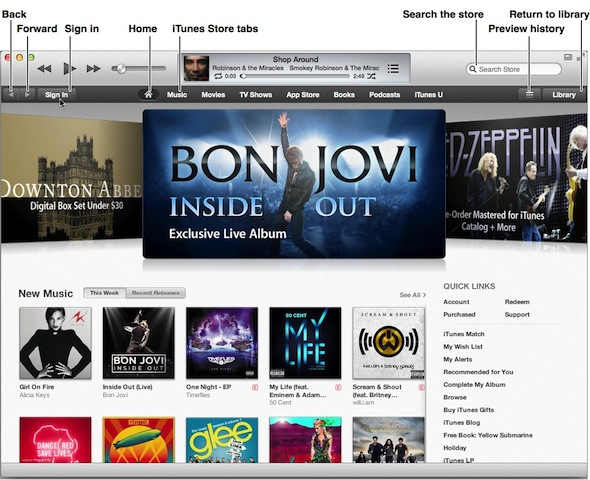 Apple iTunes Store home page