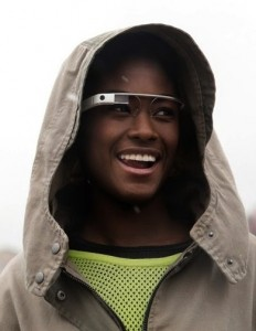 A model poses with Google Glass